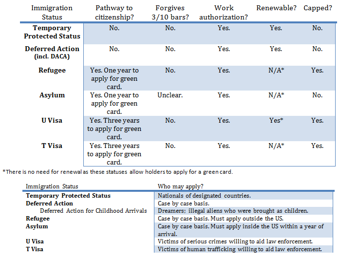 A Survey of the United States Humanitarian Migrant Statuses
