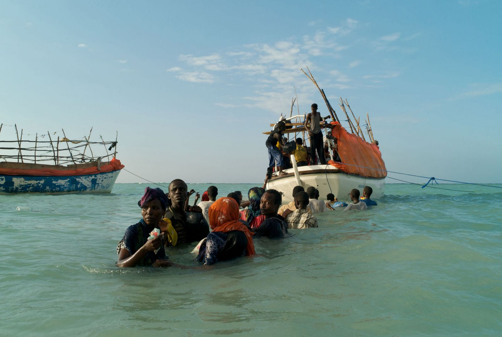 Migrants prepare to cast off the beach at Shimbiro, Somalia, for a perilous journey across the Gulf of Aden to Yemen and beyond. Photo: Alixandra Fazina/Noor