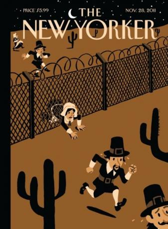 New Yorker cover of Pilgrims as illegal immigrants